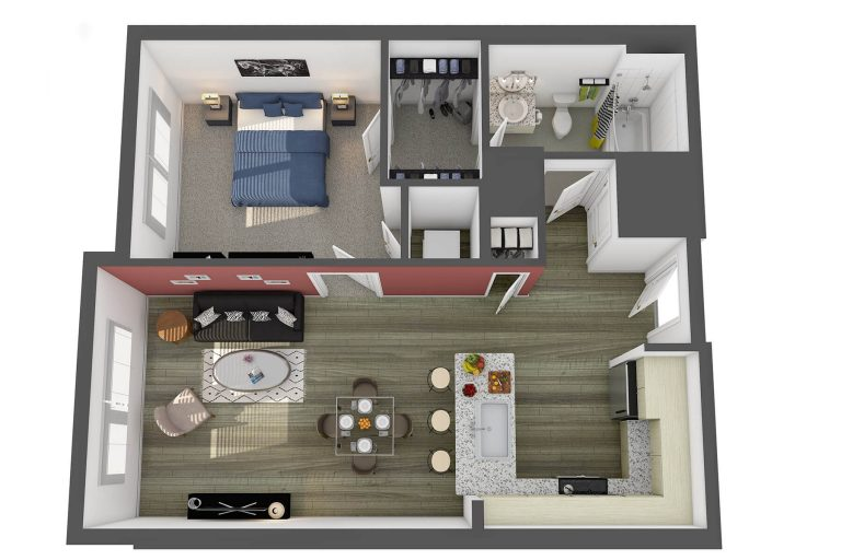 The Corcoran Floor Plan studio 3807 apartments