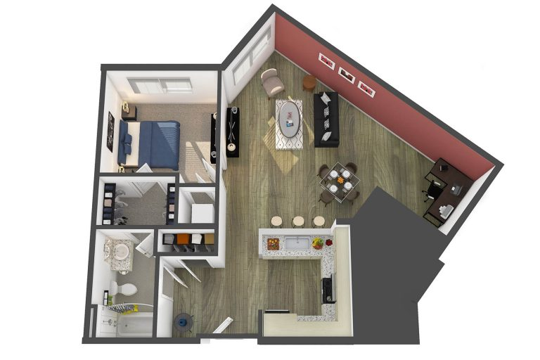 The Louvre Floor Plan at studio 3807 apartments