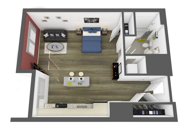 The Prado Floor Plan studio 3807 apartments