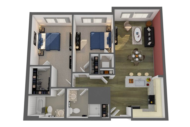 The Renwick Floor Plan at studio 3807 apartments