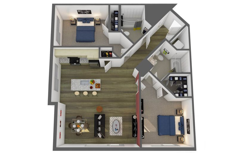 The Rodin Floor Plan 2 bedroom studio 3807 apartments